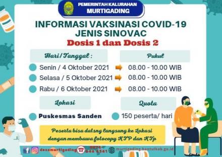 Informasi Vaksinasi Covid-19 Jenis Sinovac